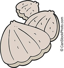 cartoon oysters - freehand drawn cartoon oysters