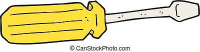 cartoon screwdriver - freehand drawn cartoon screwdriver