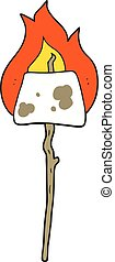 cartoon marshmallow on stick - freehand drawn cartoon...