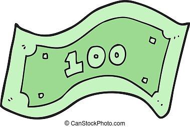 cartoon 100 dollar bill - freehand drawn cartoon 100 dollar...