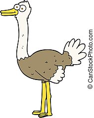 cartoon ostrich - freehand drawn cartoon ostrich