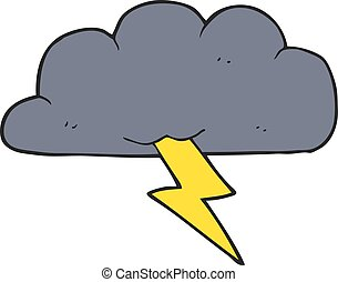 cartoon thundercloud - freehand drawn cartoon thundercloud