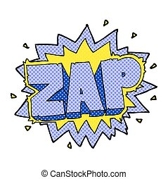 comic book style cartoon zap explosion sign - happy freehand...