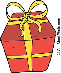 cartoon wrapped present - freehand drawn cartoon wrapped...