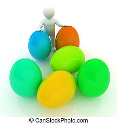 3d small person holds the big Easter egg in a hand. 3d image.