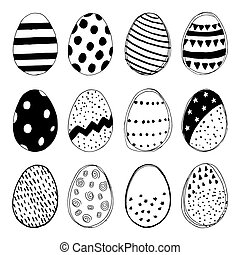 Set of easter eggs doodles