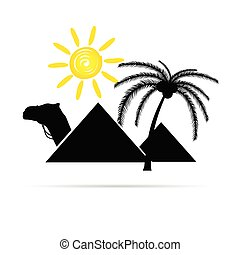 pyramid with camel and sun illustration