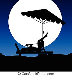 woman on deckchair on moonlight illustration in colorful