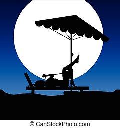woman on deckchair on moonlight illustration
