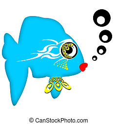 Attractive Fish - Pretty fashionable romantic blue fish with...