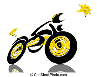 Racing with The Sun - Abstract extreme sports speed biker...