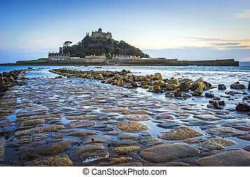 St Michaels Mount Cornwall - Dusk on the causeway leading to...