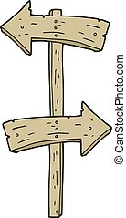 cartoon wooden direction sign