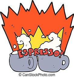 cartoon espresso - freehand drawn cartoon espresso