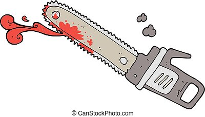 cartoon bloody chainsaw - freehand drawn cartoon bloody...