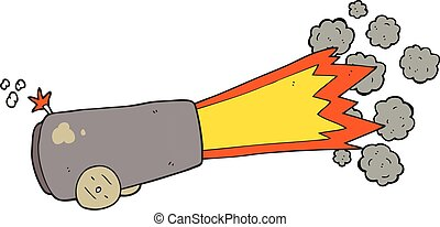 cartoon firing cannon - freehand drawn cartoon firing cannon
