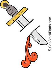 cartoon tattoo knife symbol