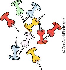 cartoon office tacks - freehand drawn cartoon office tacks