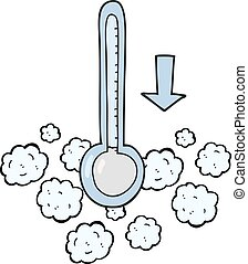 cartoon dropping temperature - freehand drawn cartoon...