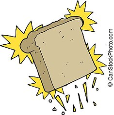 cartoon toast - freehand drawn cartoon toast