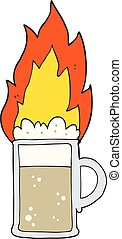 cartoon flaming tankard of beer - freehand drawn cartoon...