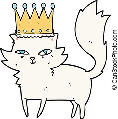cartoon posh cat - freehand drawn cartoon posh cat