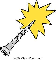 cartoon screw - freehand drawn cartoon screw