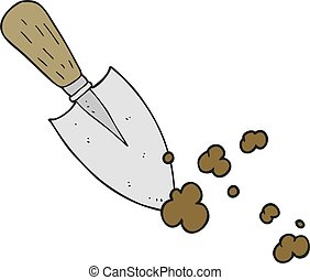 cartoon garden trowel - freehand drawn cartoon garden trowel