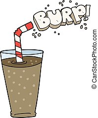 cartoon fizzy drink in glass - freehand drawn cartoon fizzy...
