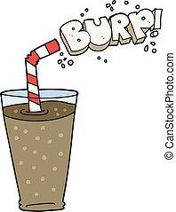 cartoon fizzy drink in glass - freehand drawn cartoon fizzy...