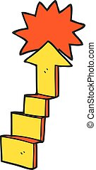 cartoon stepping up arrow - freehand drawn cartoon stepping...