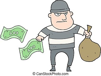 cartoon bank robber - freehand drawn cartoon bank robber