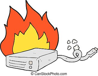 cartoon computer hard drive burning - freehand drawn cartoon...