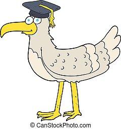 cartoon seagull with graduate cap