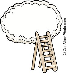 cartoon ladder to heaven - freehand drawn cartoon ladder to...
