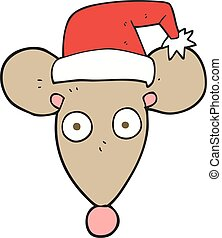 cartoon mouse in christmas hat - freehand drawn cartoon...