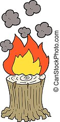 cartoon burning tree stump - freehand drawn cartoon burning...