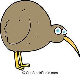 cartoon kiwi bird - freehand drawn cartoon kiwi bird