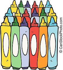 cartoon crayons - freehand drawn cartoon crayons