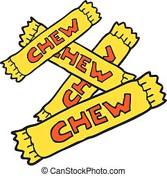 cartoon chew candy - freehand drawn cartoon chew candy