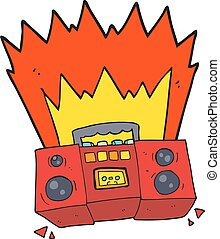 cartoon boom box - freehand drawn cartoon boom box