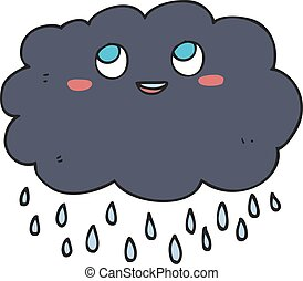 cartoon raincloud - freehand drawn cartoon raincloud