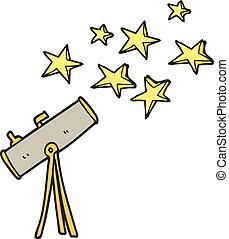 cartoon telescope and stars