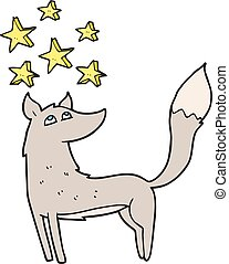 cartoon wolf with stars