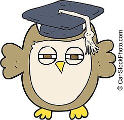 cartoon clever owl - freehand drawn cartoon clever owl
