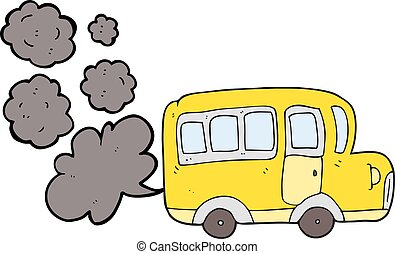 cartoon yellow school bus - freehand drawn cartoon yellow...
