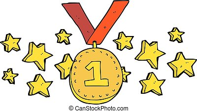 cartoon first place medal - freehand drawn cartoon first...