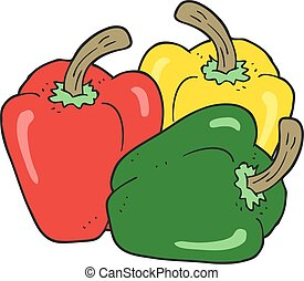 cartoon peppers - freehand drawn cartoon peppers
