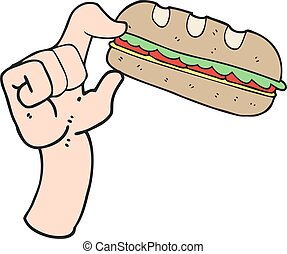 cartoon sub sandwich - freehand drawn cartoon sub sandwich