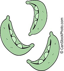 cartoon peas - freehand drawn cartoon peas
